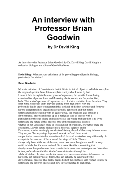 An interview with Professor Brian Goodwin