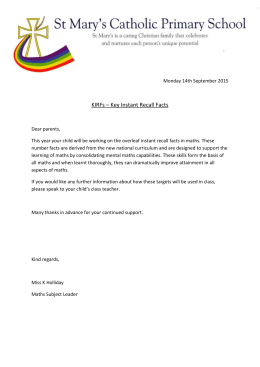 Maths letter from Miss Holliday 14/09/15