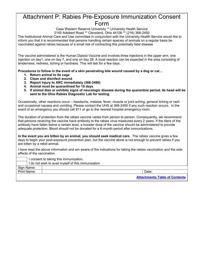Attachment P Rabies PreExposure Immunization Consent Form – Vaccine Consent Form