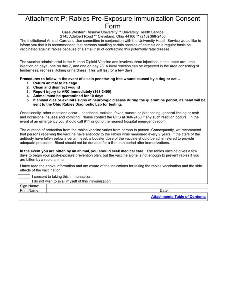 attachment p rabies pre exposure immunization consent form - Vaccine Consent Form