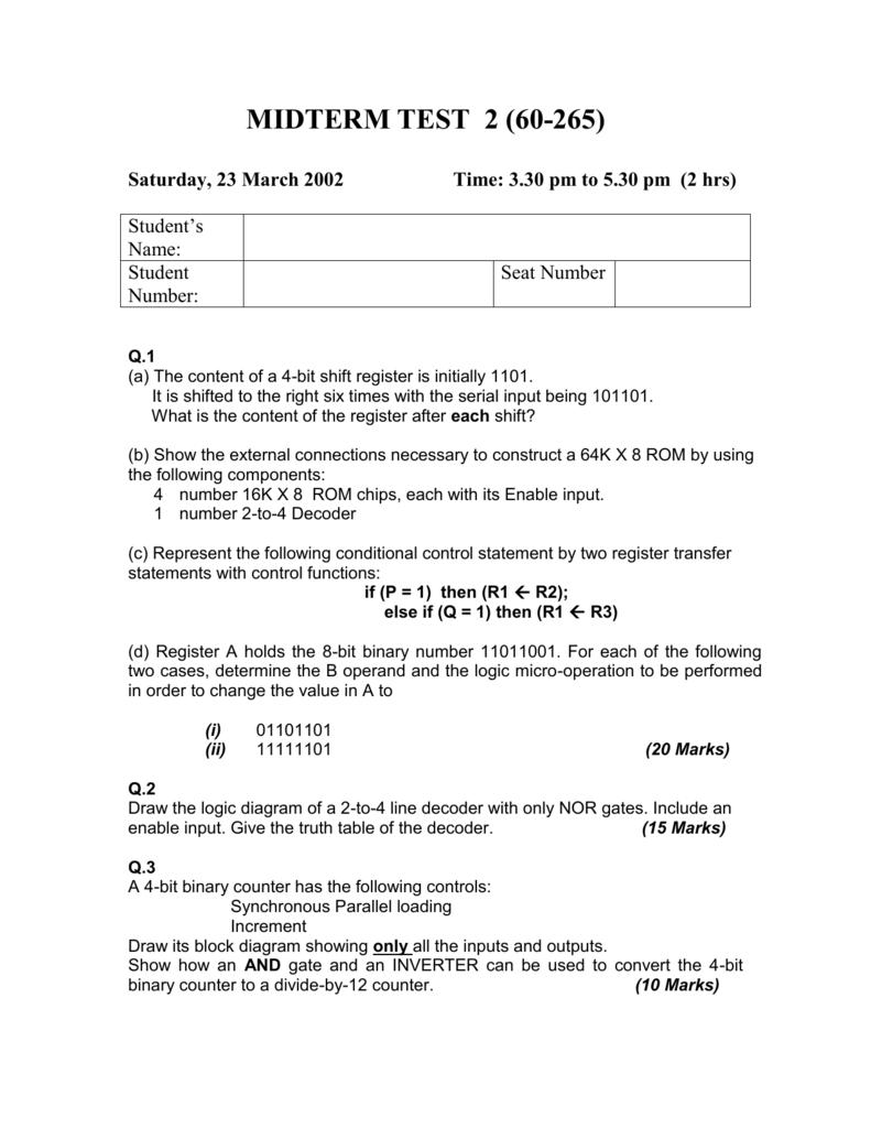 Midterm Test 2 60 265 4 Decoder Logic Diagram
