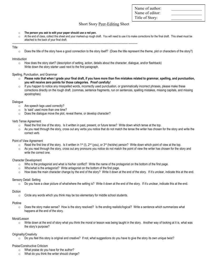 Short Story Peer-Editing Sheet