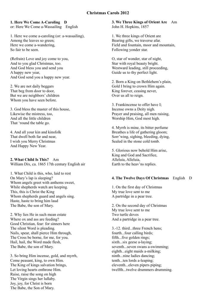 The First Day Of Christmas Lyrics.Christmas Carol Lyrics