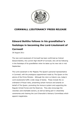 Press release - Cornwall Council