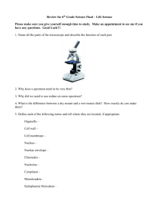 Review for 6th Grade Science Final – Life Science