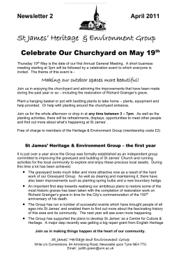 Newsletter 2 April 2011 St James` Heritage & Environment Group
