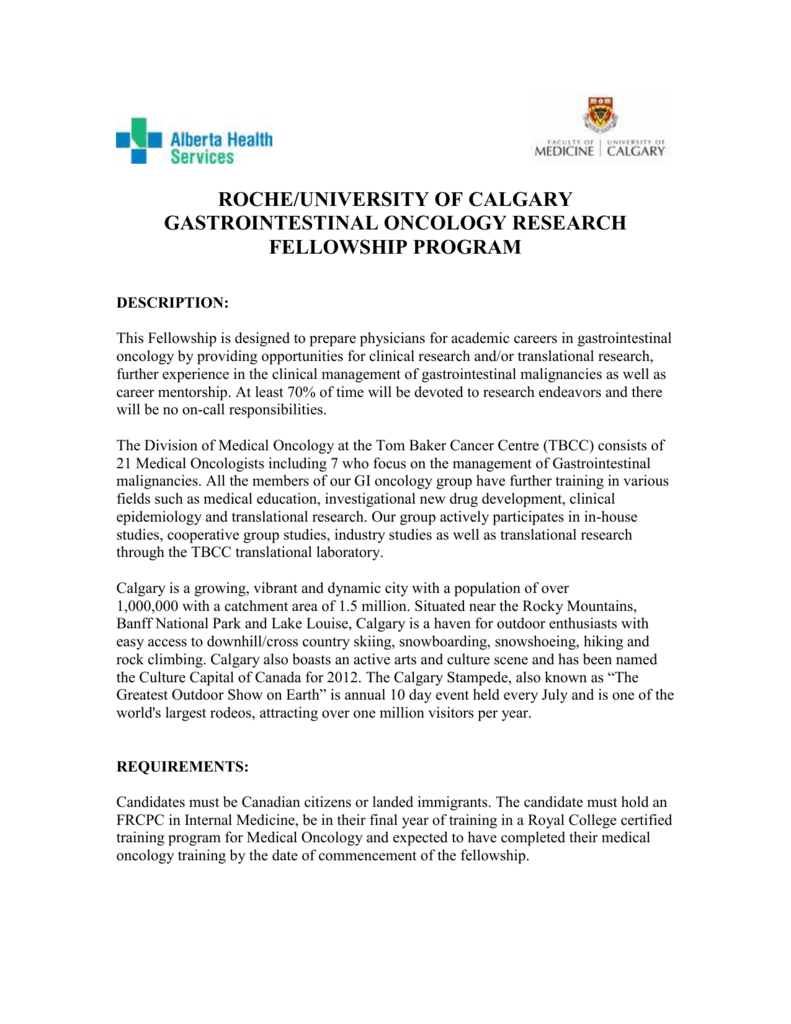 roche/university of calgary gastrointestinal oncology research