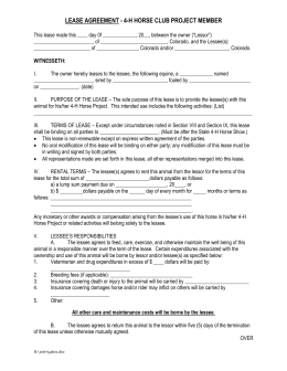 4 H Horse Lease Agreement   Colorado State University Extension