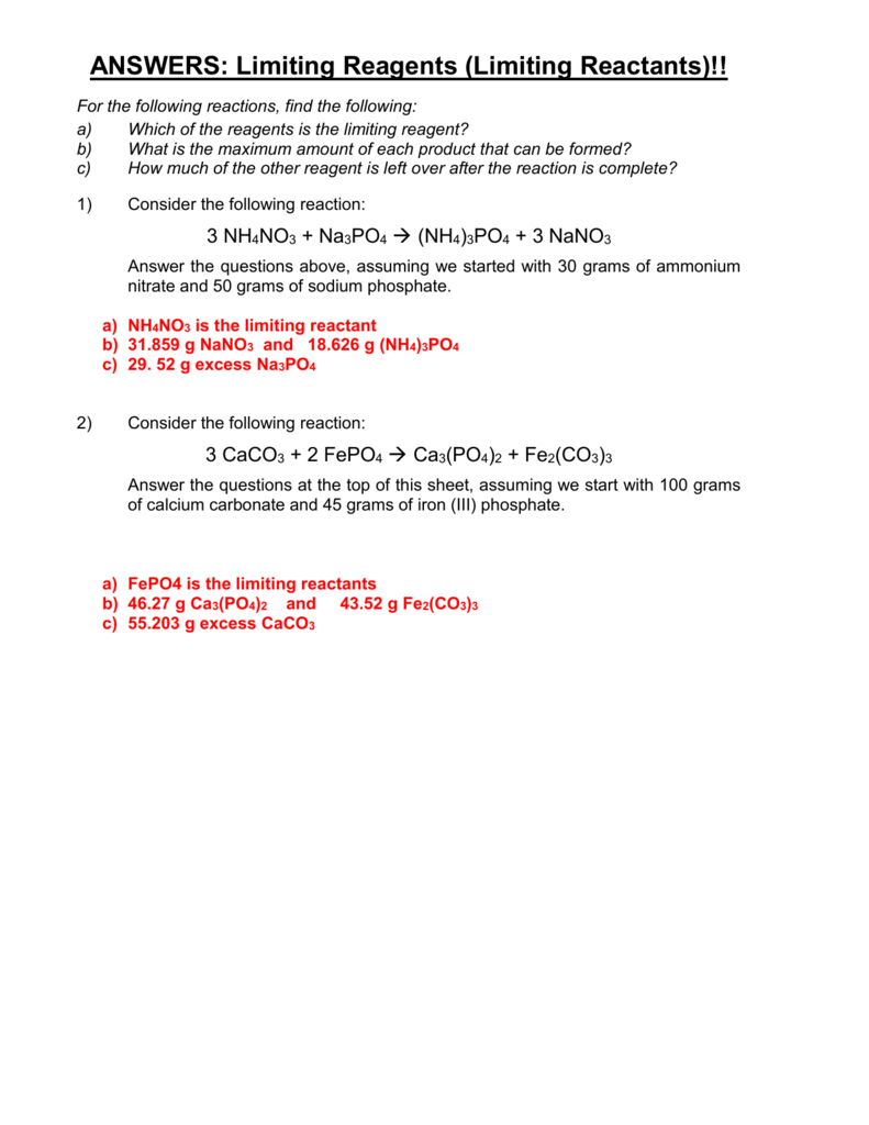 worksheet Limiting Reactant And Percent Yield Worksheet limiting reagents reactants
