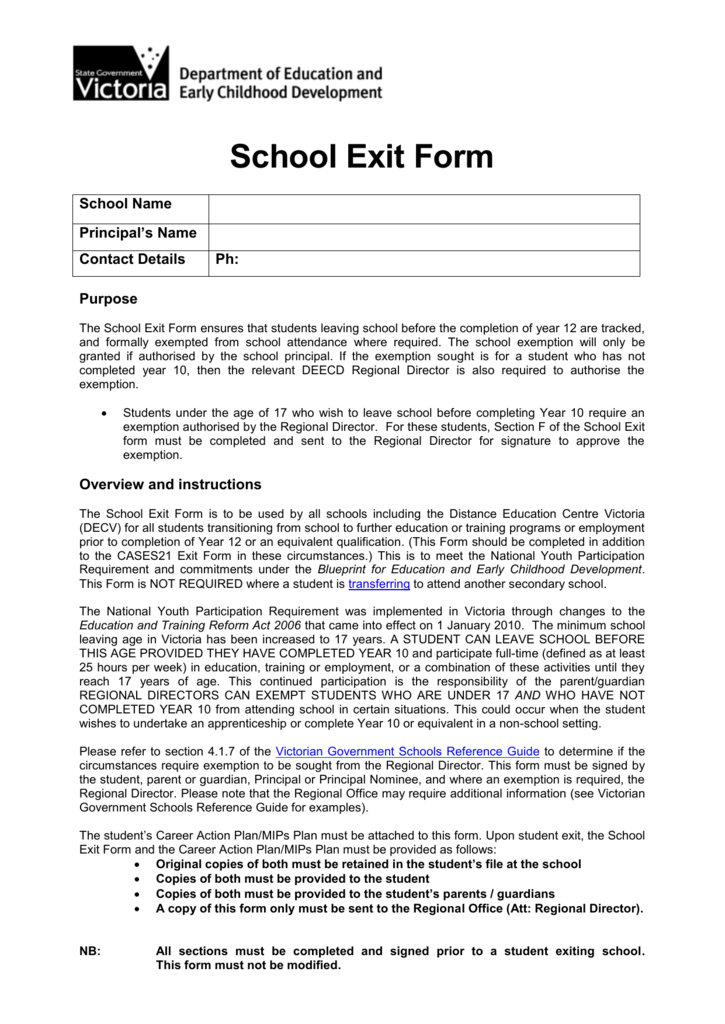 School exit form 0075326992 d61f28601e6a3d33bc983fdb7cd51294g malvernweather Image collections