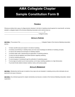 AMA Collegiate Chapter Sample Constitution