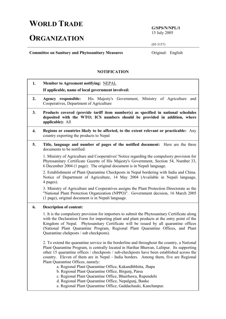 RESTRICTEDCode - WTO/SPS National Notification Authority