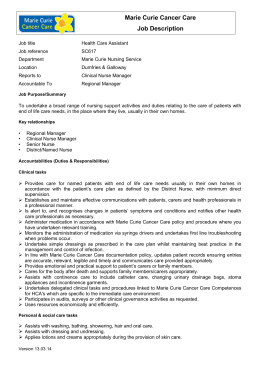 Marie Curie Cancer Care Job Description Job title Health Care