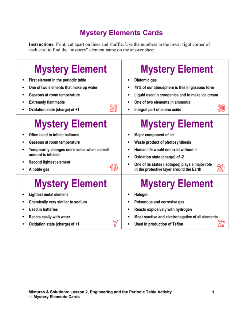 Mystery Elements Cards