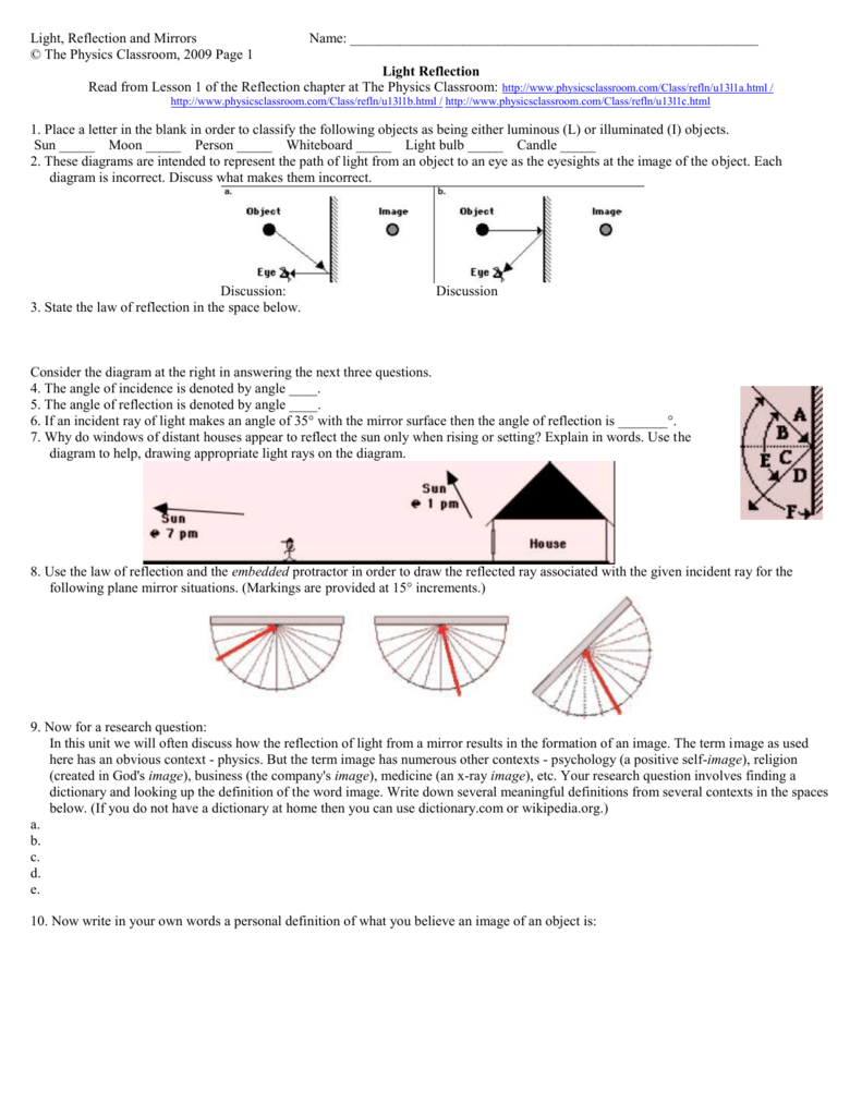 worksheet Light Reflection And Refraction Worksheet light reflection and mirrors name