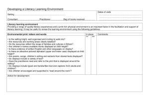 Literacy learning environment checklist