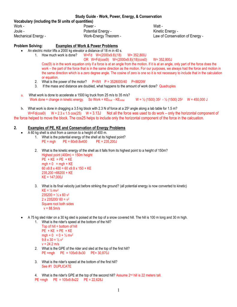 11/17 review sheet Key for work power energy
