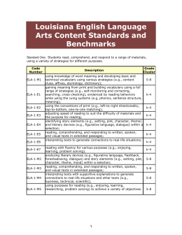 Louisiana English Language Arts Content Standards and Benchmarks