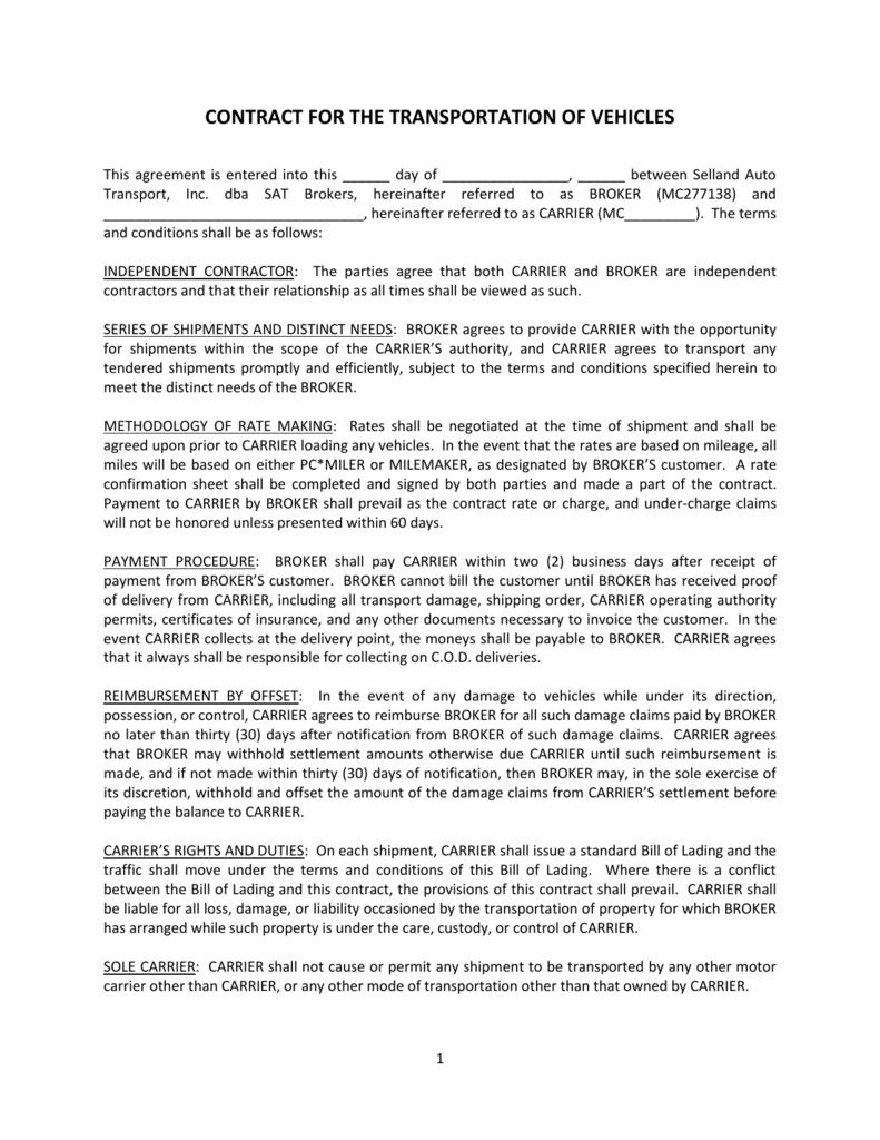 Brokerage Contract Selland Auto Transport
