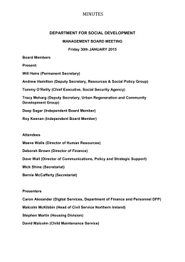 Departmental Management Board minutes for January 2015
