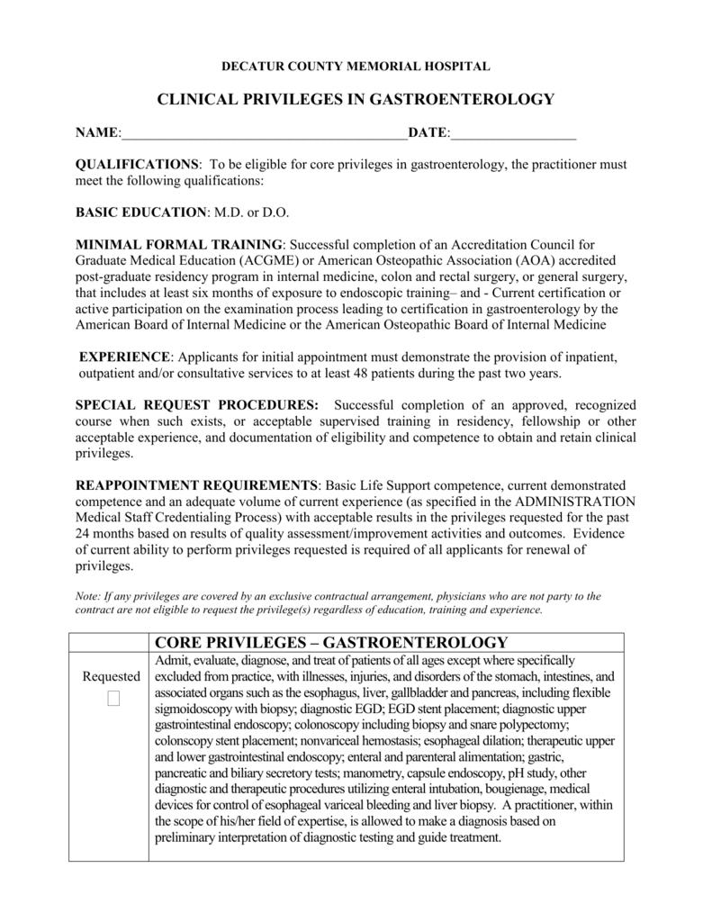 Gastroenterology Privileges