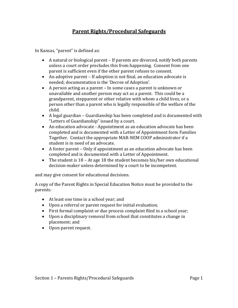 Parents Rights In Special Education Notice Of Procedural Safeguards >> Parent Rights Procedural Safeguards