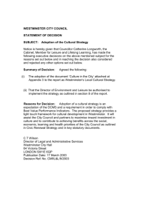 STATEMENT OF DECISION - Westminster City Council