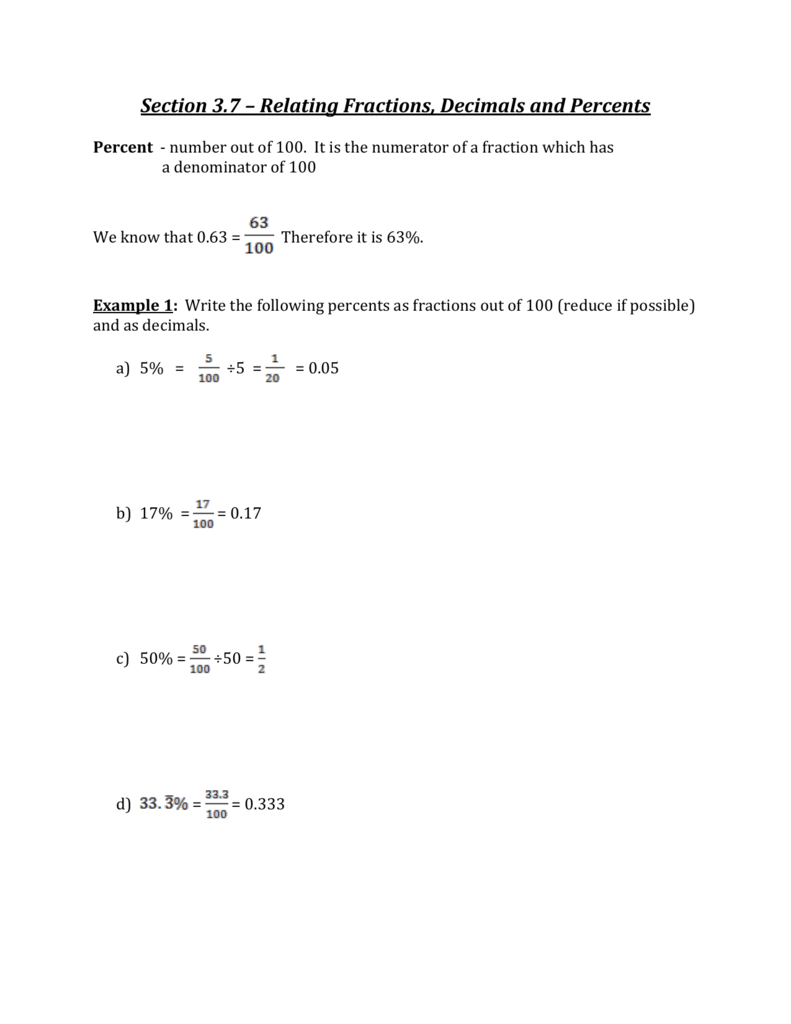 section 3.7 – relating fractions, decimals and percents