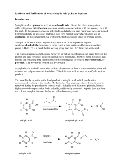 synthesis and charactization of aspirin lab report In the first part of the experiment, aspirin was synthesized  this vial was then  stored in the dessicooler until the characterization began  all of the spectra,  with the various bands labeled, are in appendix a of this report.