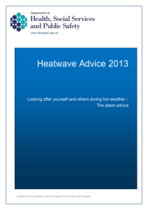 Advice for Looking after Yourself and Others during Hot Weather