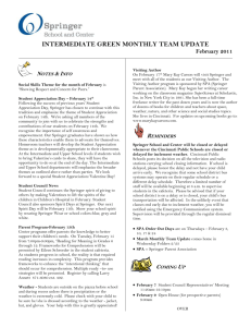 INTERMEDIATE GREEN MONTHLY TEAM UPDATE February 2011