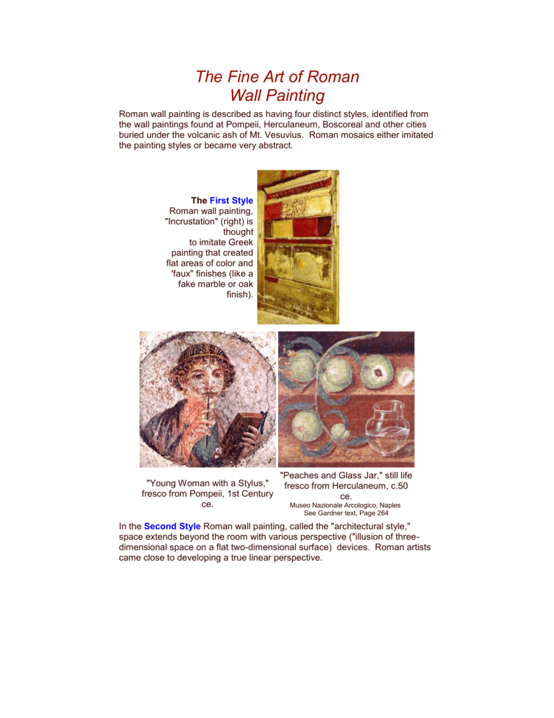 The Fine Art Of Roman Wall Painting 4 Styles