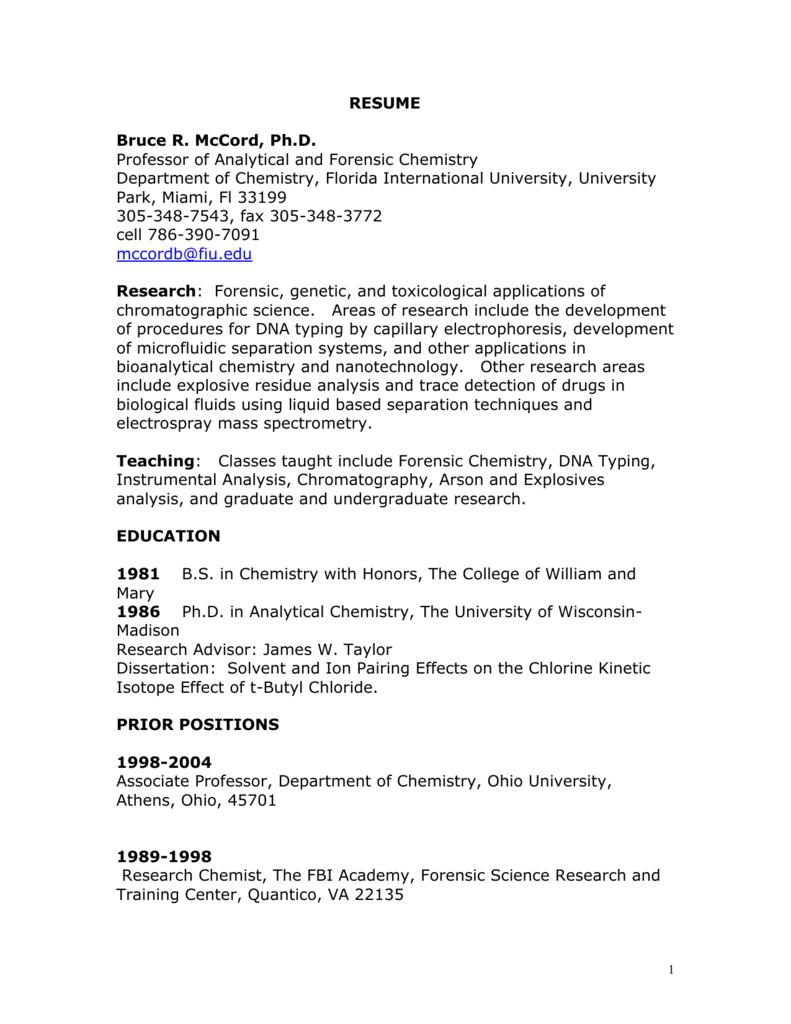 Resume Florida International University