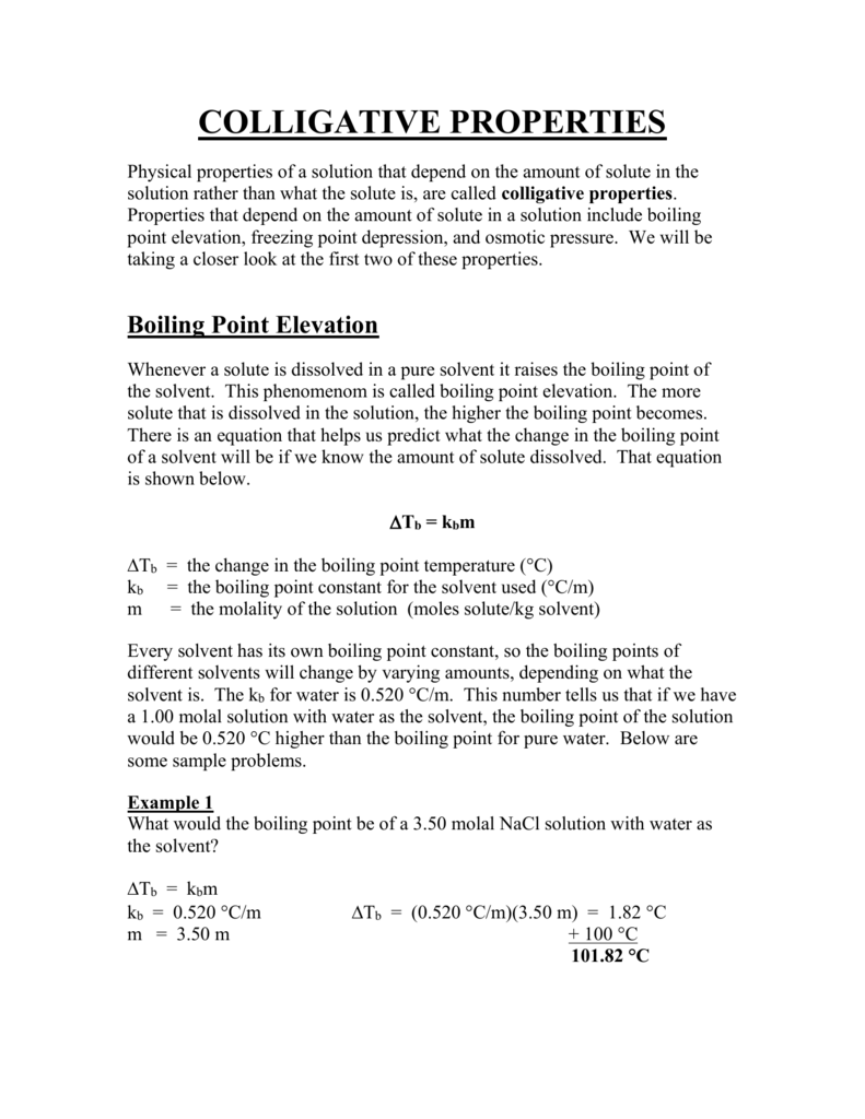 100+ [ Colligative Properties Worksheet With Answers ] | Here For ...