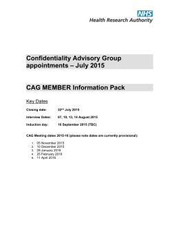 CAG Member information pack July 2015