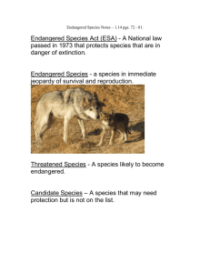 Endangered Species Notes – 1