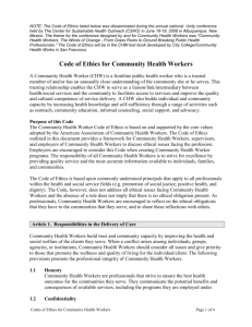 Code of Ethics for Community Health Workers