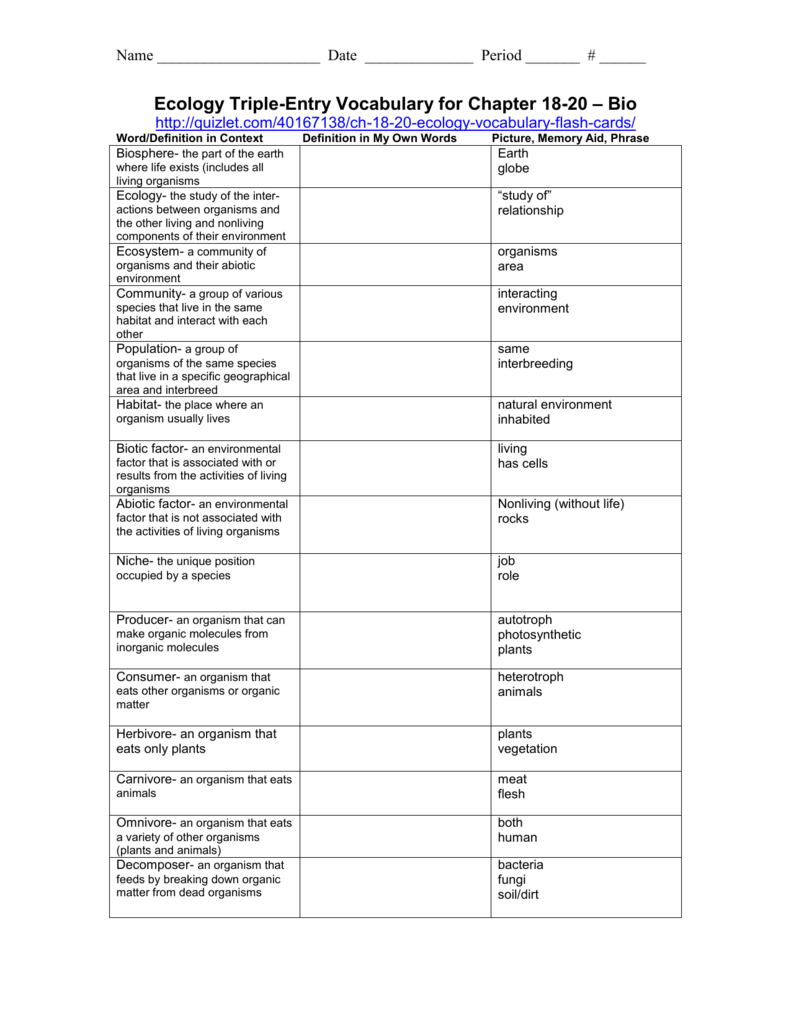 Triple Entry Vocabulary Journal Template