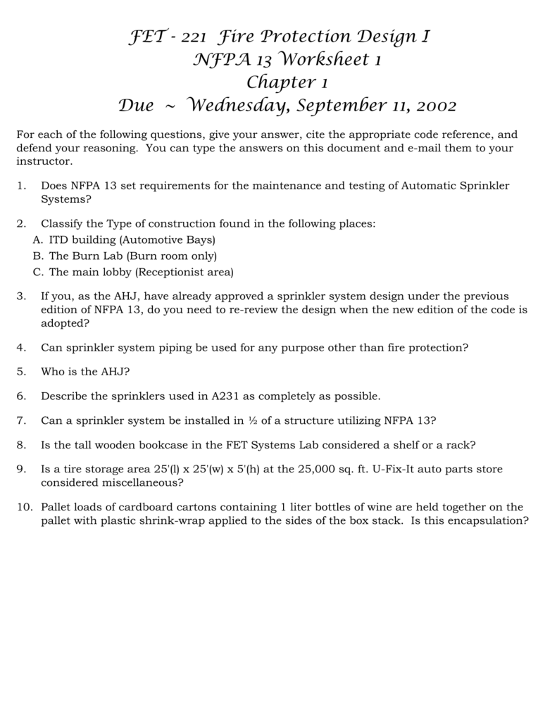 nfpa 13 worksheet 1