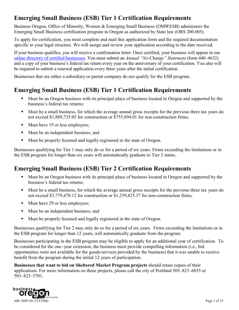 Esb Tier 1 Certification Requirements