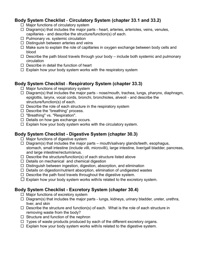 Body System Checklist Circulatory System Chapter 331 And 332