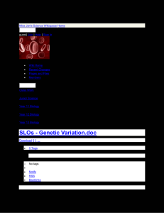 Miss Jan`s Science Wikispace - SLOs - Genetic Variation