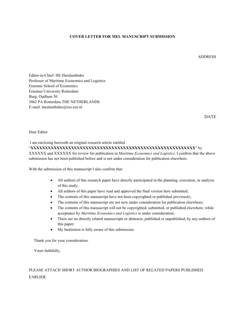 Dear editor in chief cover letter bristol geography dissertations