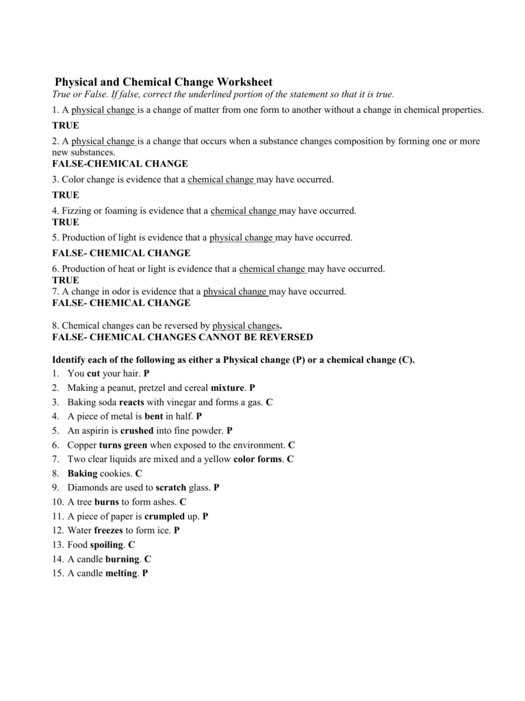 Physical and Chemical Change Worksheet – Worksheet Physical and Chemical Changes