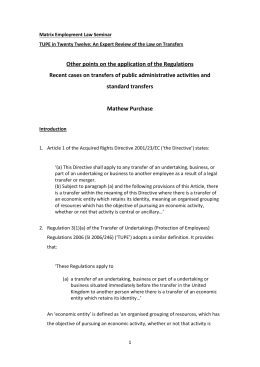 TUPE in 2012 Application of the Regulations by Mathew Purchase