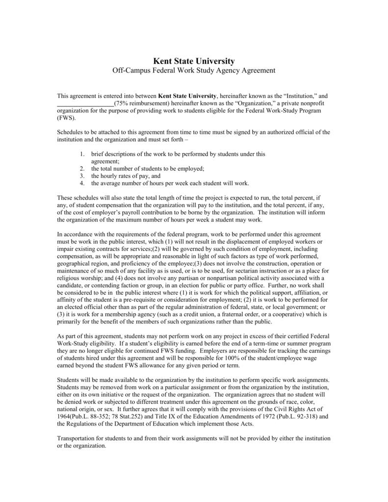 Federal Work Study Agreement Sample