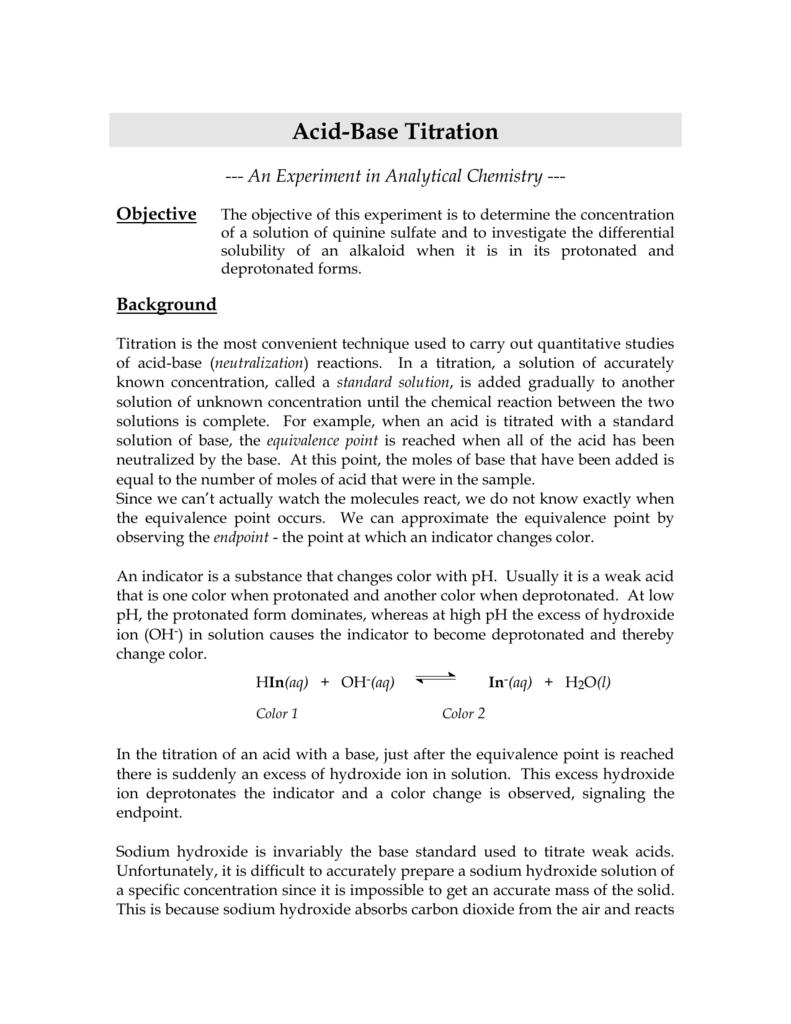 worksheet Acid Base Titration Worksheet acid base titration