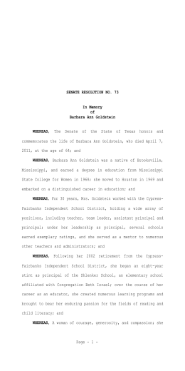S.R. No. 73 SENATE RESOLUTION NO. 73 In Memory of Barbara