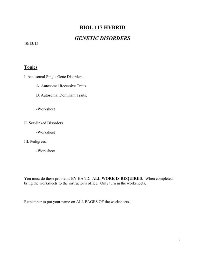 GENETIC DISORDERS AND PEDIGREES – Autosomal Pedigree Worksheet