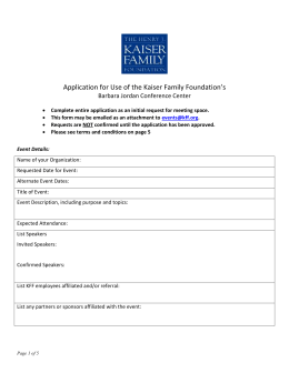 External Events Application - The Henry J. Kaiser Family Foundation